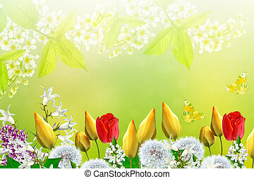 Floral background with bright spring flowers.