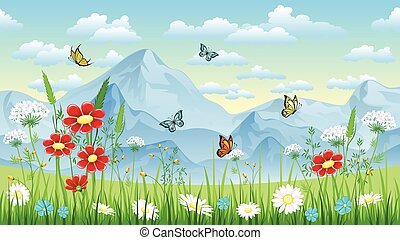 Floral background with butterflies and moutains