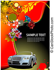 Floral background with cabriolet car image. Vector illustration. Invitation card