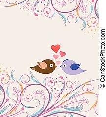 Floral background with cartoon bird