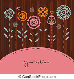 Floral background with cartoon birds