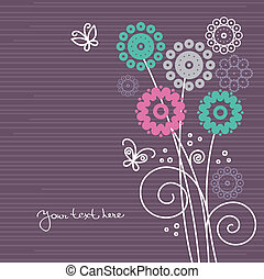 Floral background with cartoon butterflies