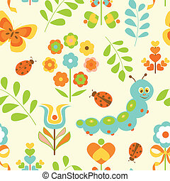 Floral background with caterpillar