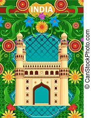 Floral background with Charminar showing Incredible India
