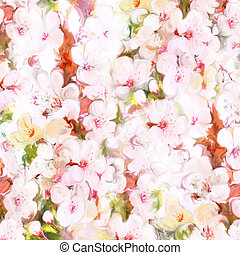 Floral background with cherry flowers in pastel colors