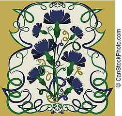 Floral background with cornflowers in art nouveau style, vector illustration