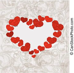 Floral background with crumpled paper hearts for Valentines Day