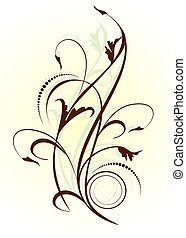 Floral background with decorative branch. Vector illustration.