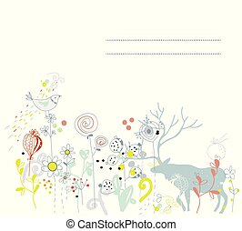 Floral background with deer