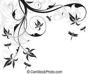 Floral background with dragonfly, element for design, vector...
