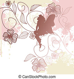 Floral background with fairy shape - Delicate fairy shape...