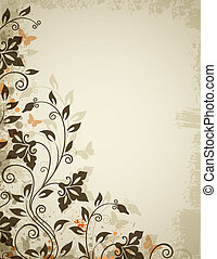 Floral background with flowers and butterflies