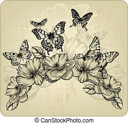 Floral background with flowers and flying butterflies,...