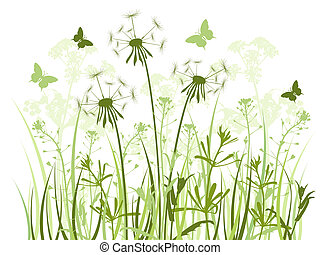floral background with green grass, dandelions and butterflies