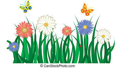 Floral background with grass, flowers and butterflies. Vector illustration