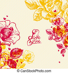 Floral background with hand lettering. Card of Wedding day