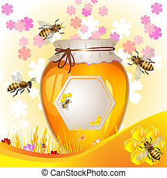Floral background with honey