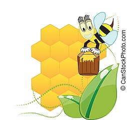 Floral background with honey and bees
