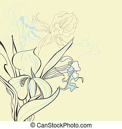 Floral background with iris flowers