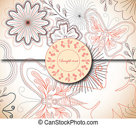 Floral Background with Label. Vector