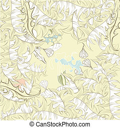 Floral background with leaves