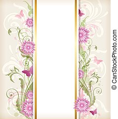 Floral background with pink flower