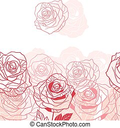 Floral background with pink roses. Vector illustration
