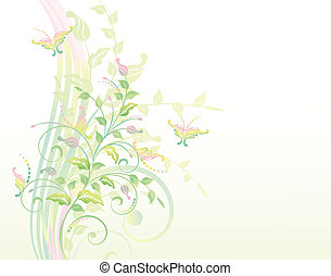 floral background with plants and butterflies