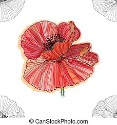 Floral background with poppies. seamless pattern. Flourish seamless textured wallpaper for greeting card.
