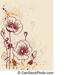 floral background with poppies - vector grunge floral ...