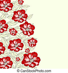 Floral background with poppy flowers and leaves