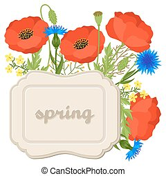 Floral background with pretty spring flowers. Template for invitation and greeting cards
