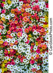 floral background with roses and chrysanthemums