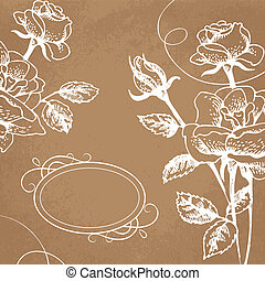 Floral background with roses and frame