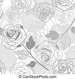 Floral background with roses. Vector seamless pattern