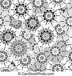Floral background  with round stylized flowers