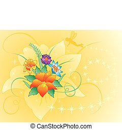 Floral background with silhouette elf