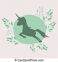 floral background with silhouette of unicorn jumping