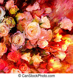 Floral background with stylized bouquet of roses on grunge striped dynamic backdrop in red,yellow,pink colors