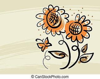 Floral background with sunflowers and butterfly