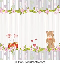 Floral background with teddy bear