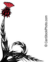thistle - floral background with thistle in black, white and...