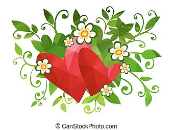 floral background with two hearts
