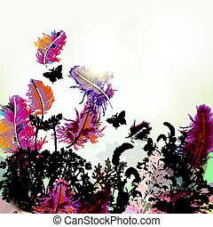 Floral background with vector feathers and plants