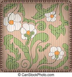 Floral Background with Vintage frame