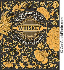 Floral background with whiskey logo