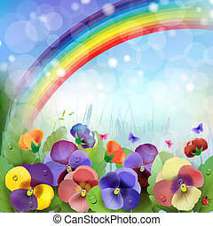 Floral background,rainbow, colorful pansies flowers in the...
