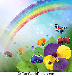 Floral background,rainbow