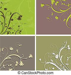Decorative floral backgrounds in earthy tones