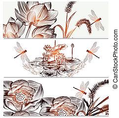 Floral backgrounds set in elegant